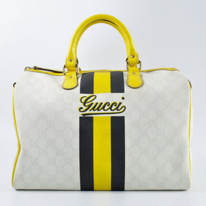 Gucci Monogram Joy Medium Boston Yellow Stripe