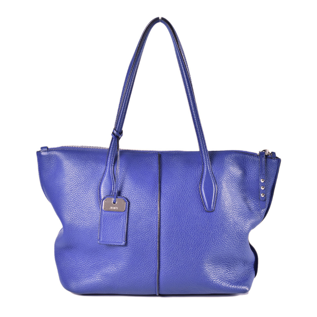 Tod's Large Joy Zip Blue Shopping Bag