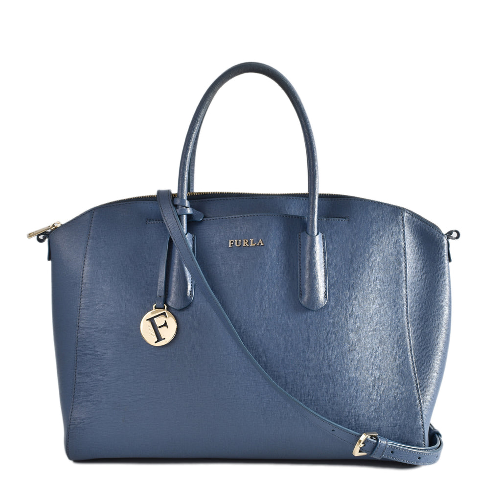 Furla Tessa Saffiano Leather Satchel Bag in Blue