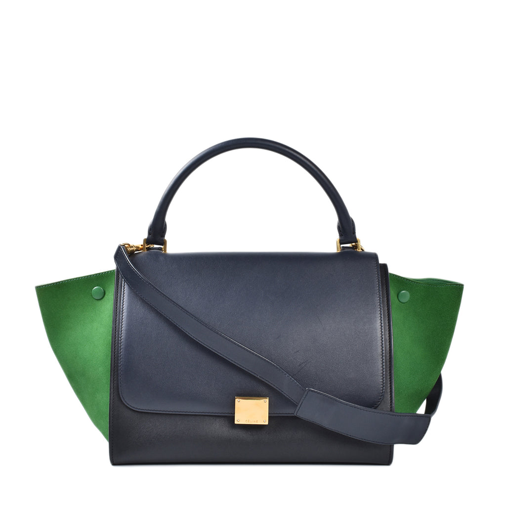 Celine Black/Green Smooth Leather Medium Trapeze Bag