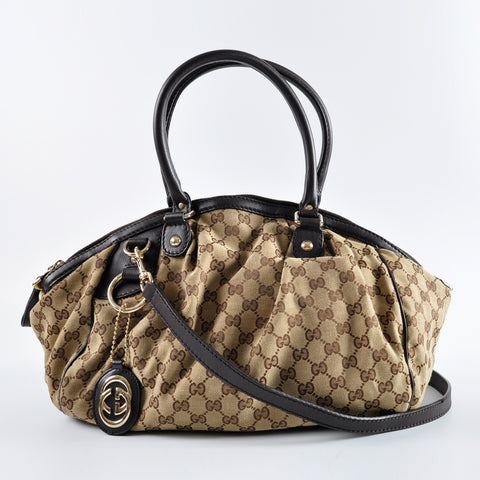 16b24def8 Gucci Guccissima Canvas Leather GG Charm Diamante Sukey Cross Body Bag  223974 525040