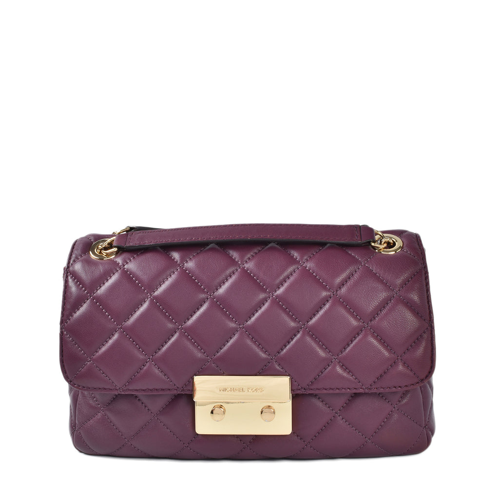 Michael Kors Burgundy Quilted Leather Sloan Chain Shoulder Bag