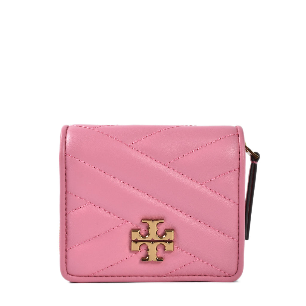 Tory Burch Kira Chevron Quilted Bi-fold Wallet in Pink