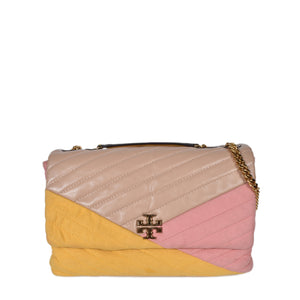 Tory Burch Kira Chevron Mixed-Convertible Shoulder Bag in Dark Chutney Colorblock