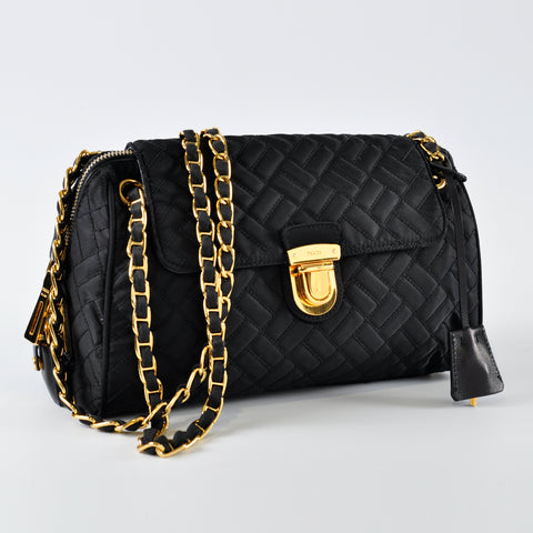 b13f387df8141e Prada Quilted Black Nylon Shoulder Bag with Gold Chain