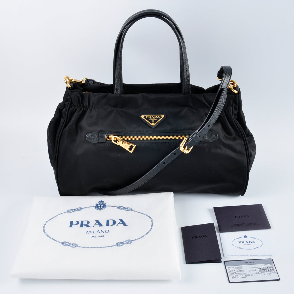 Prada Tessuto Nylon & Saffiano Leather Trim Top Zip Bag Nero
