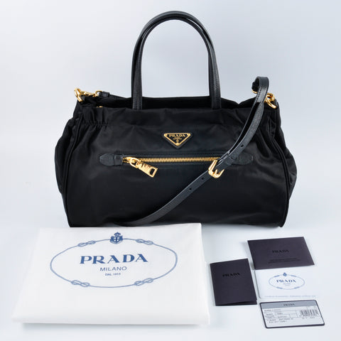 ee2ae71bb0e726 Prada Tessuto Nylon & Saffiano Leather Trim Top Zip Bag Nero