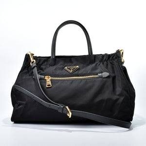 Prada 1BA843 Tessuto Nylon & Saffiano Leather Trim Top Zip Bag Nero