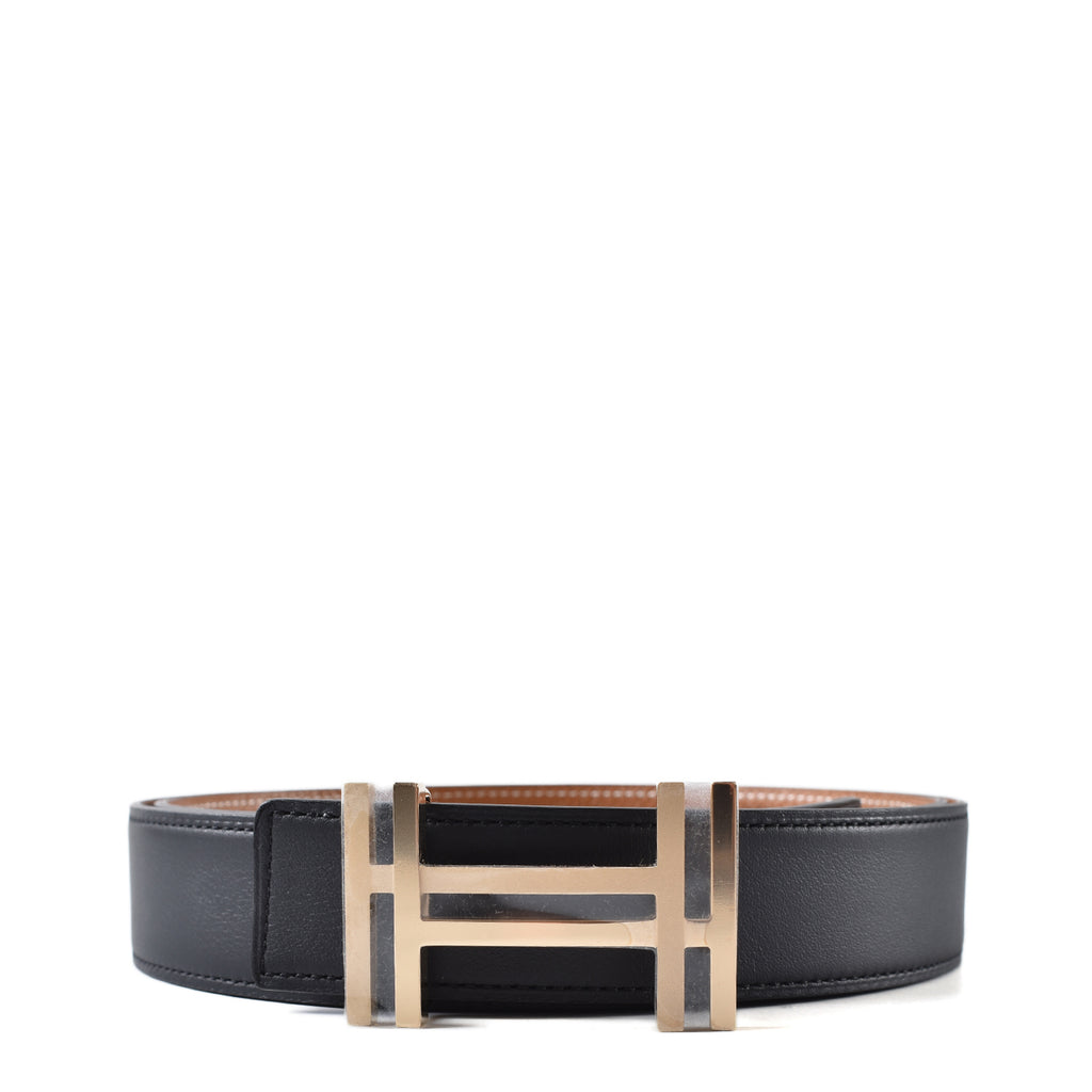 Hermes 32mm Black Swift/Gold Epsom Belt Strap 100 cm (Stamp T) + Brushed Polished Au Carre Double H Belt