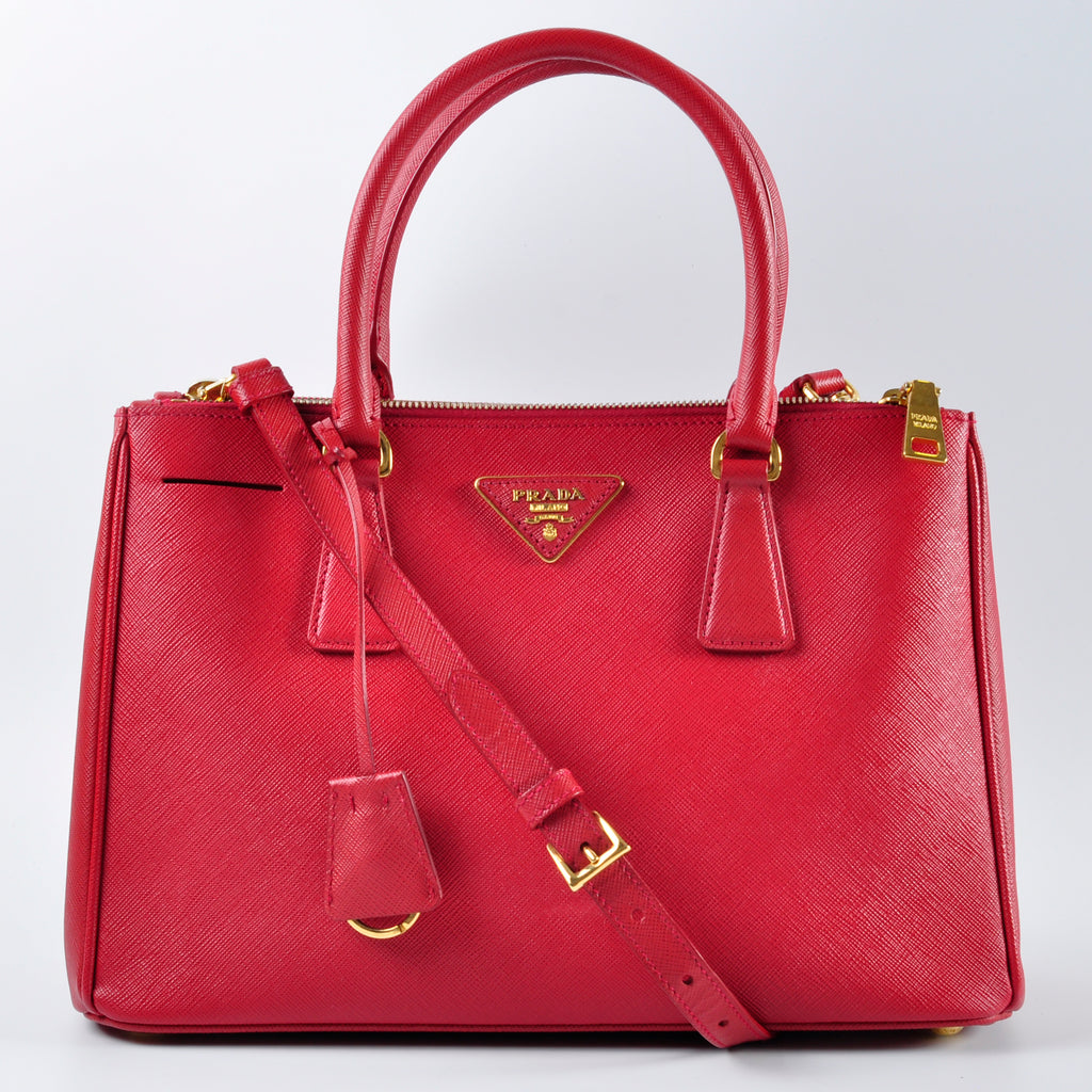 Prada Fuoco Saffiano Lux Leather Double Zip Small Tote Bag