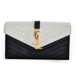 Saint Laurent Quilted Chevron YSL Monogram Evelope Black and White Leather Clutch 1348311.0214 GHW