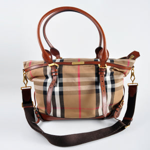 Burberry Marta Brown Tan Nude Leather and Canvas Diaper Bag - Glampot