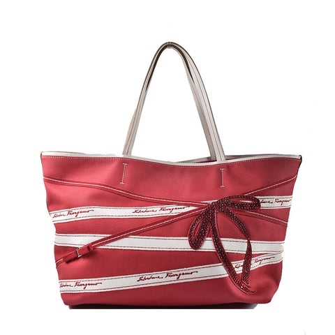 Salvatore Ferragamo Red Canvas Leather Trim Tote