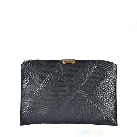 Burberry Black Brooke Textured Leather Wristlet