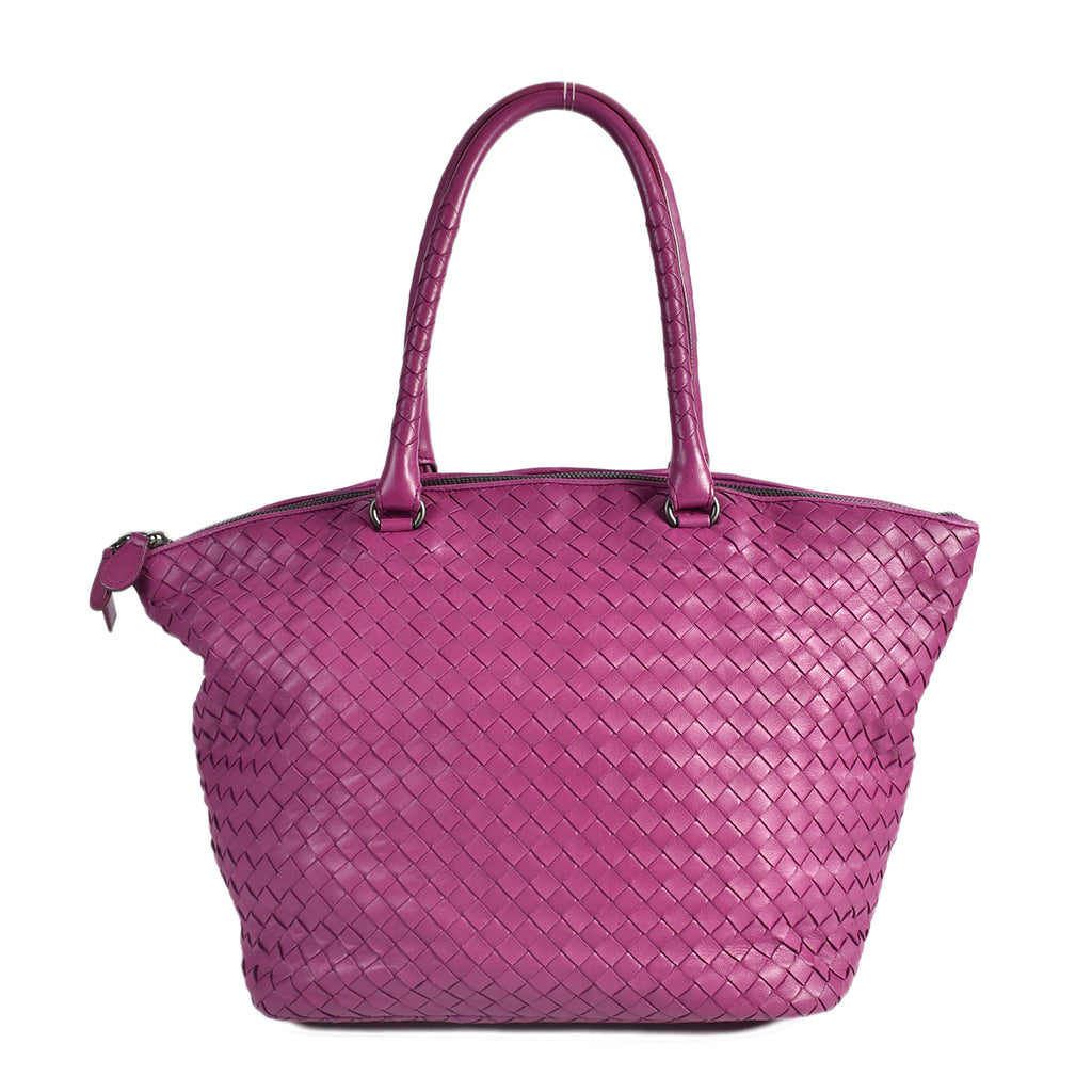 Bottega Veneta Zip Top Tote Intrecciato Nappa Large in Orchid