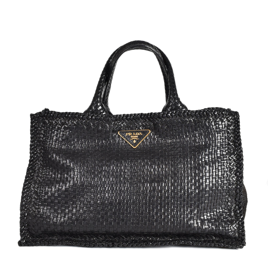 Prada Large Woven Leather Madras Tote in Black