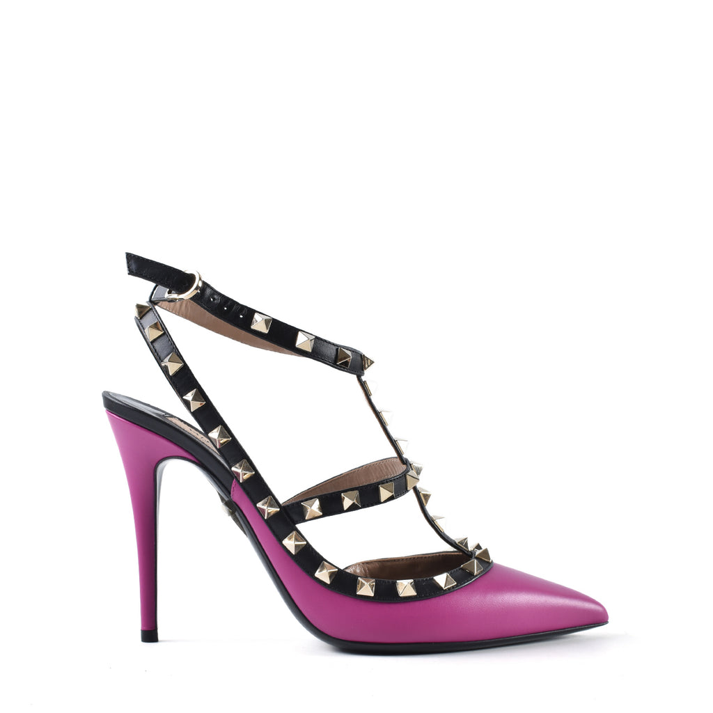 Valentino Rockstud Matte Leather Fuschia/Black Heels