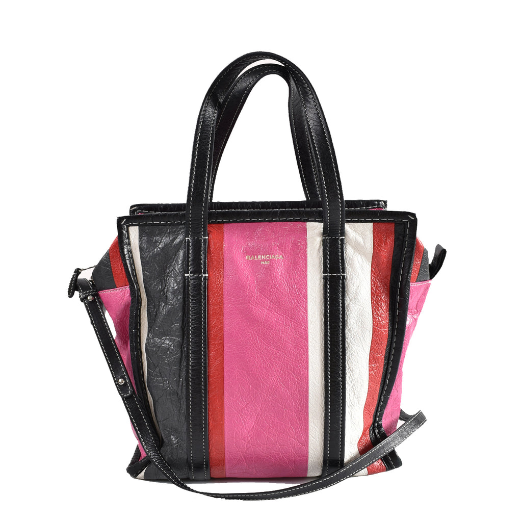 Balenciaga Black/White/Pink Arena Leather Bazar Small Shopper Tote Bag