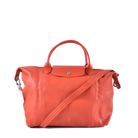 Longchamp Le Pliage Cuir Orange Medium Short Handle