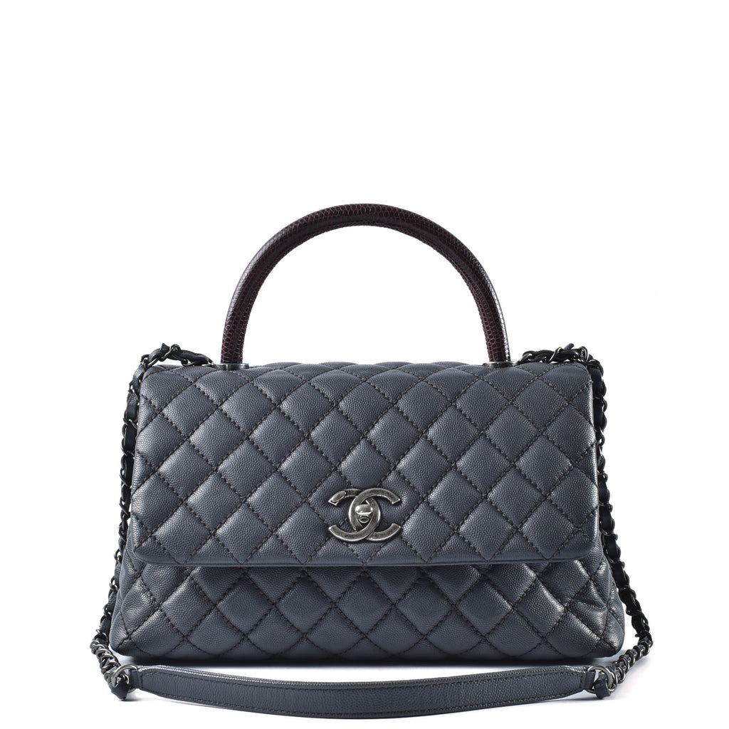 Chanel Coco Handle in Blue Caviar and Maroon Lizard Handle RHW - Glampot