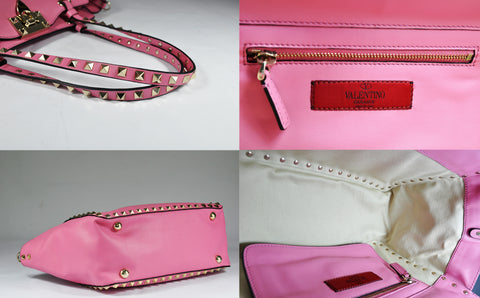Rockstud Trapeze Small Tote In Pink Soft Leather