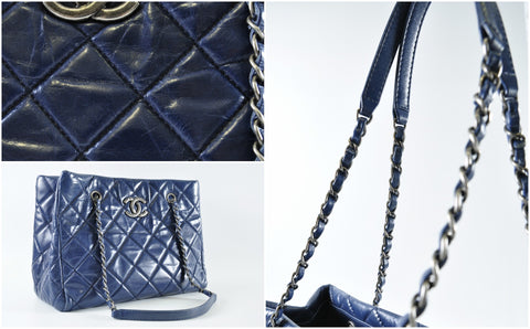 Chanel Blue Quilted Glazed Leather CC Tote Bag RHW - Glampot