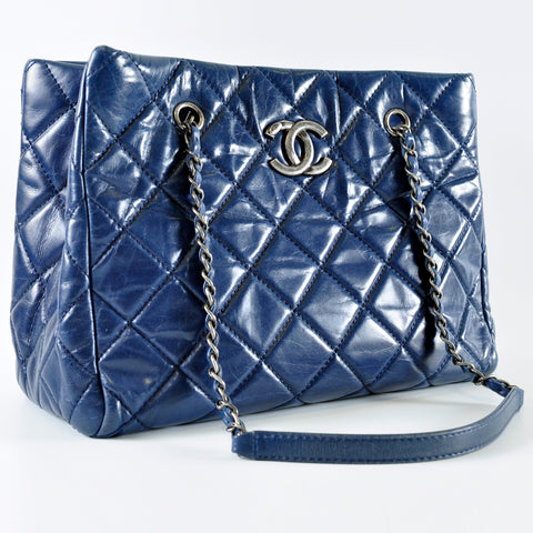 d2435676b5f635 Chanel Blue Quilted Glazed Leather CC Tote Bag RHW - Glampot