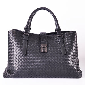 Bottega Veneta Medium Roma Bag in Nero Intrecciato Calf - Glampot