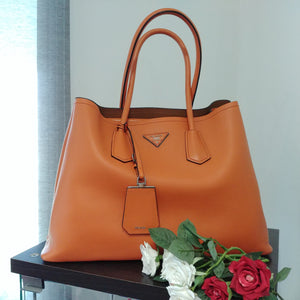 Prada Papaya City Calfskin Leather Double Handle Tote Bag BR5070