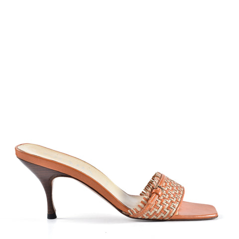 Prada Orange Woven Leather Heels Size 37