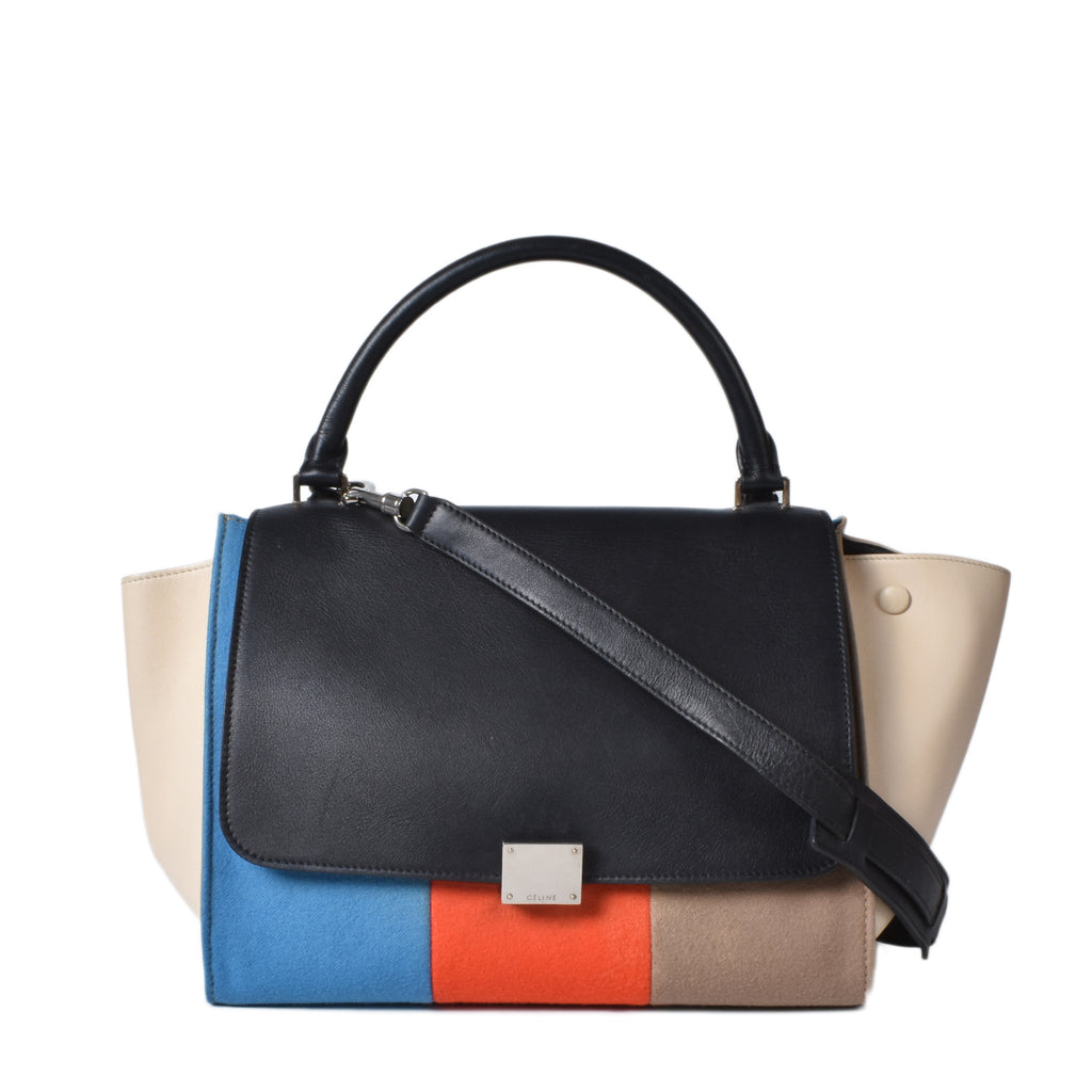 Celine Multicolor Medium Trapeze in Leather and Felt W-PA-0172