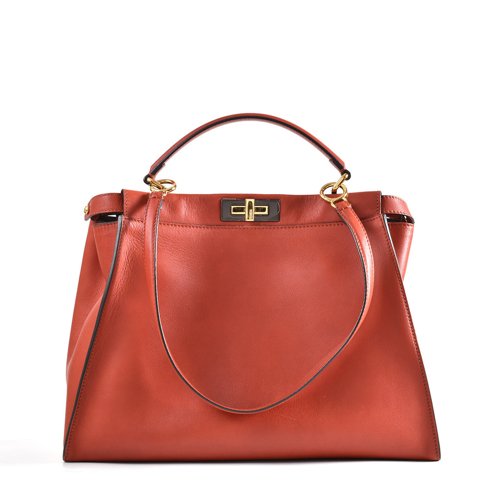 Fendi Peekaboo Iconic Large in Burnt Orange / Brown Interior