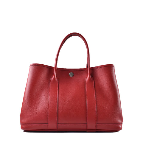 Hermes Garden Party 30 Rouge Casaque Epsom Leather Tote Stamp X