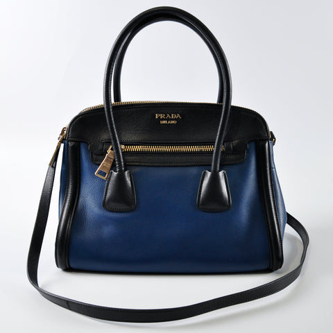5ea0de10b07e Prada BN2598 Blue City Calf and Black Saffiano Leather Tote