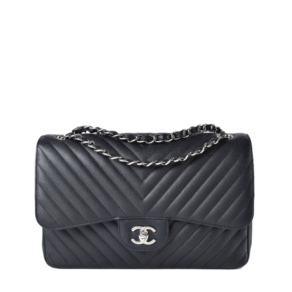 Chanel Classic Double Flap Chevron Caviar Jumbo SHW in Black