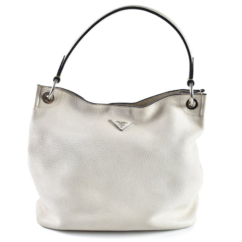 Prada White Leather Shoulder Bag