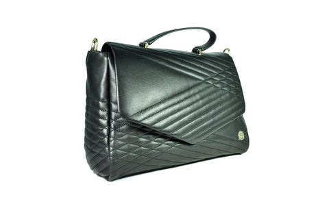 Tory Burch Quilted Large Black Satchel