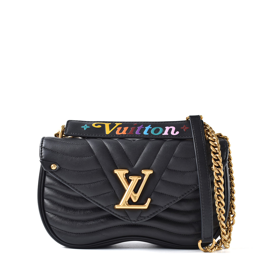 Louis Vuitton New Wave Chain Bag MM Calfskin in Black