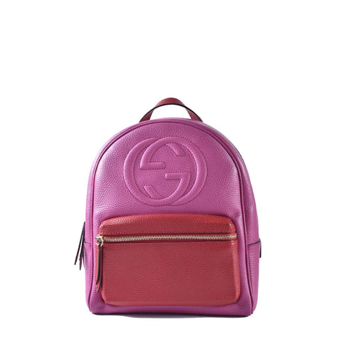 Gucci Pink Pebbled Leather Soho Chain Backpack Bag