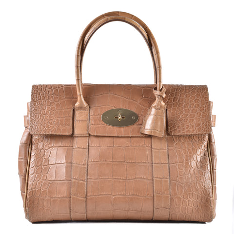 Mulberry Bayswater Large Croc Embossed Leather Satchel 20008085