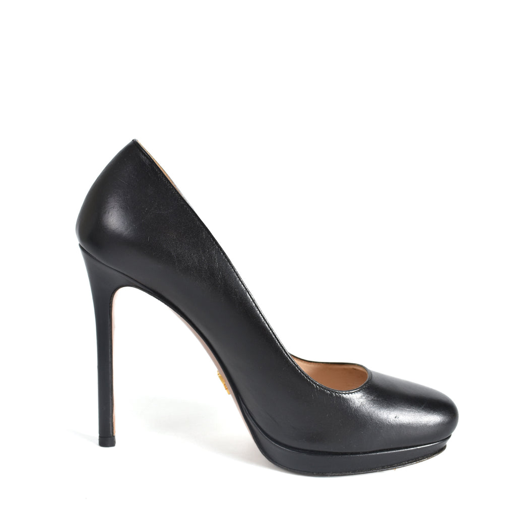 Prada Leather Heels in Black