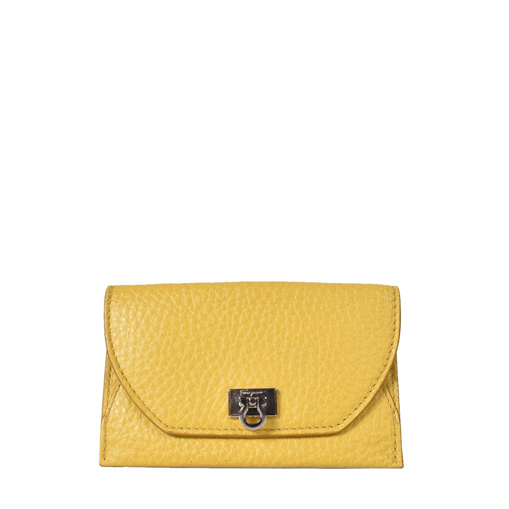Salvatore Ferragamo Yellow Calf Leather Card Holder 1Y-22B591