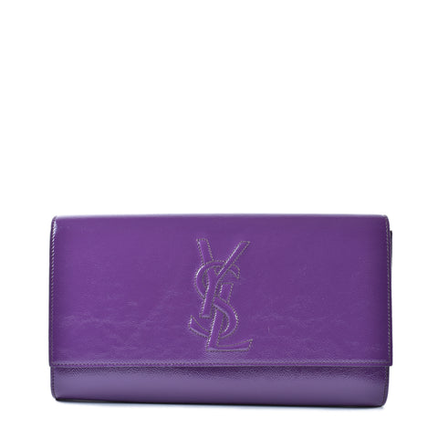 Saint Laurent Clutch in Patent Purple