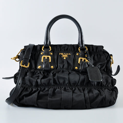 Black Nylon Gaufre Bag - Glampot