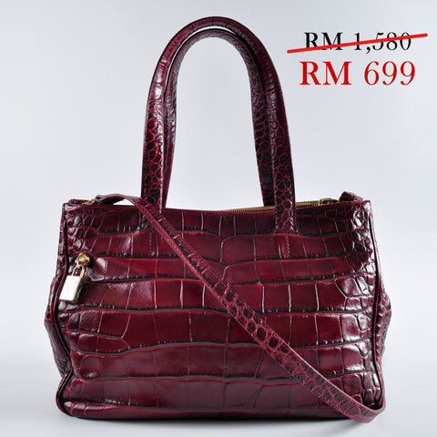 Furla Faux Croc Leather Tote with Sling in Maroon