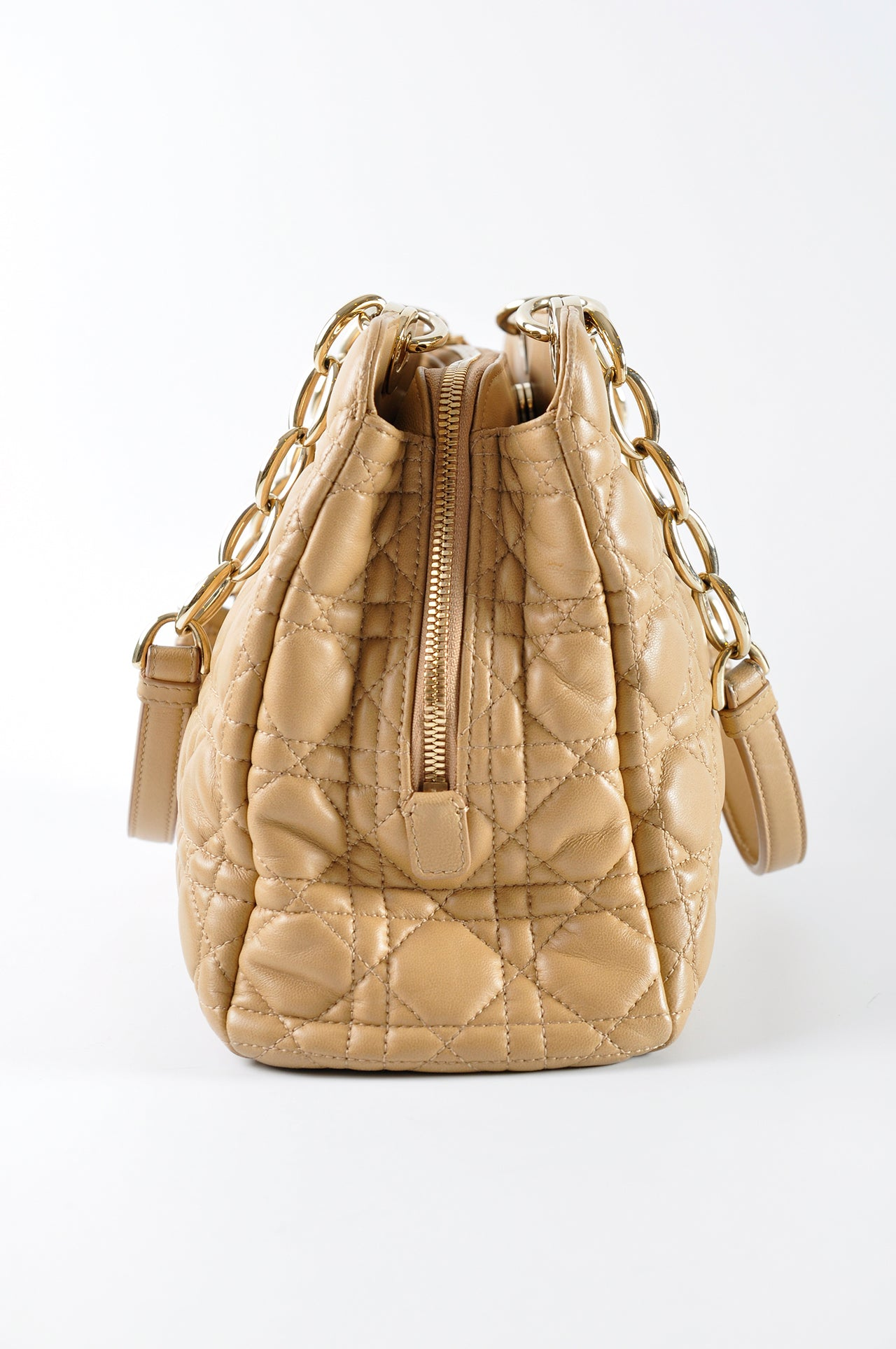 Christian Dior Small Beige Cannage Lambskin Shopping Tote Bag - Glampot