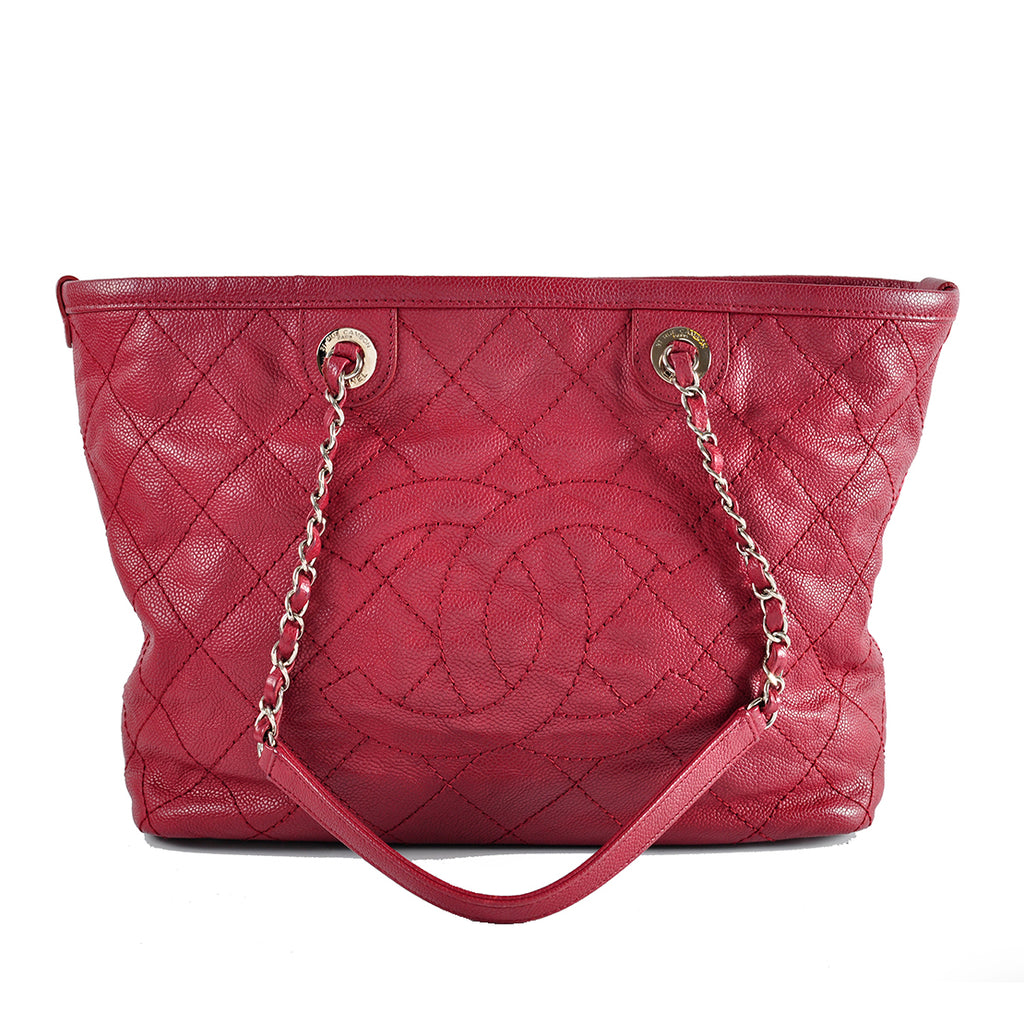 Chanel Caviar Red Tote Bag SHW - Glampot