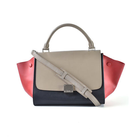 Celine Smooth Calfskin Trapeze Small Tricolour Bag in Beige/Navy/Red S-CU-5114 - Glampot