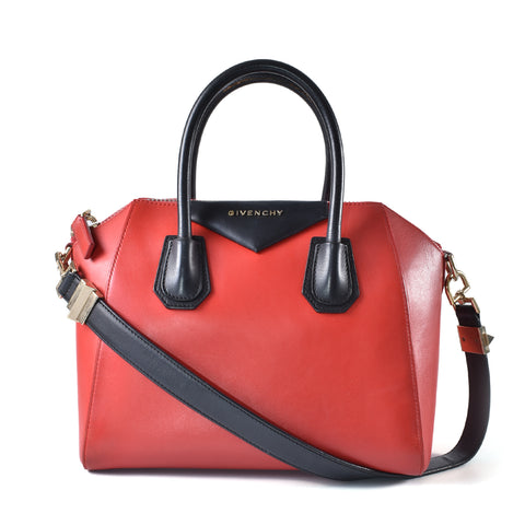 Givenchy Small Antigona In Red/Black Calfskin 3C0113