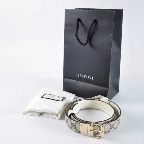 ecb6bbc8d5f Gucci 391271 Reversible Blue White GG Supreme belt with G buckle